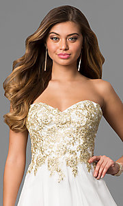Image of long white beaded strapless sweetheart dress Style: CD-GL-G559 Detail Image 1