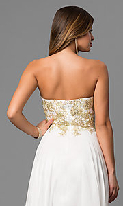 Image of long white beaded strapless sweetheart dress Style: CD-GL-G559 Detail Image 2