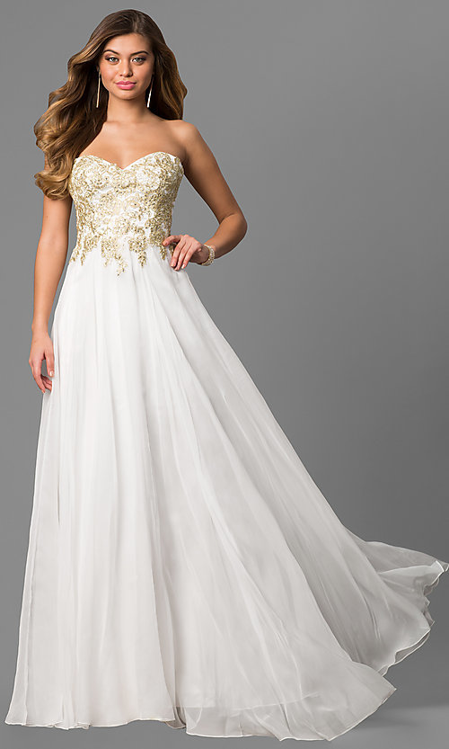 Long White Beaded Sweetheart Prom Dress - PromGirl