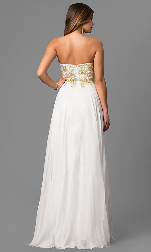 Image of long white beaded strapless sweetheart dress Style: CD-GL-G559 Back Image