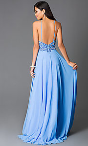 Image of beaded periwinkle blue open-back long prom dress. Style: CD-GL-G561 Back Image