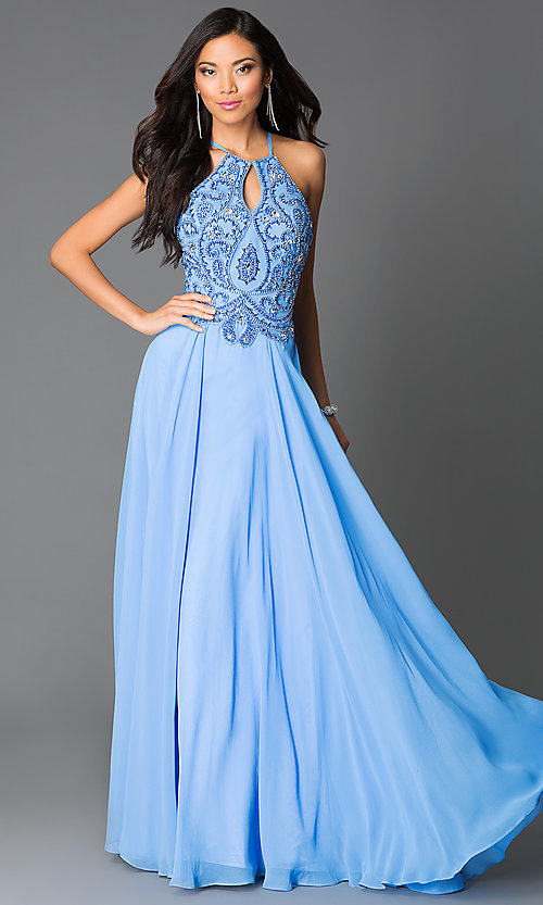 Image of beaded periwinkle blue open-back long prom dress. Style: CD-GL-G561 Front Image