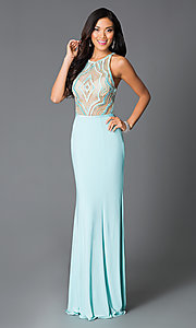 Aqua Long Prom Dress With High Neck Beaded Bodice
