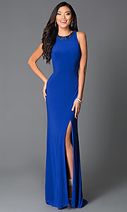 Floor Length Long Prom Dress With Slit and Beaded Collar
