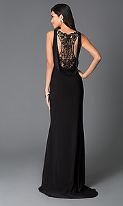Long Sleeveless Prom Dress With Cut Outs and Beaded Draped Back