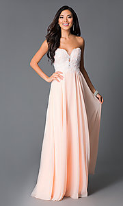 Image of floor-length corset sweetheart peach prom dress. Style: CD-GL-G580 Front Image