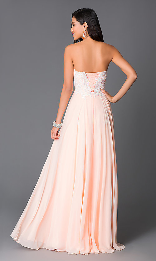 Image of floor-length corset sweetheart peach prom dress. Style: CD-GL-G580 Back Image