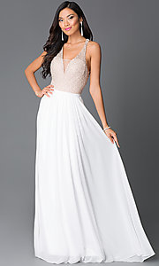 Halter Illusion Bodice Long Dress