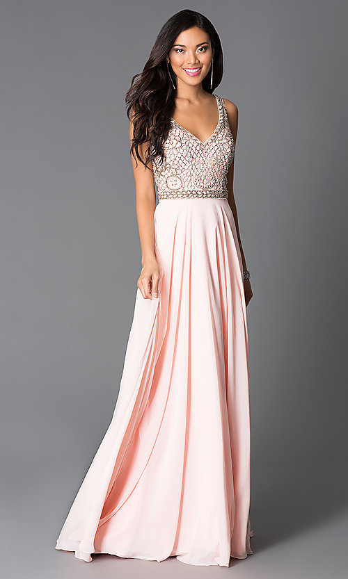 Image of long pink beaded sleeveless prom dress Style: CD-GL-G605 Front Image