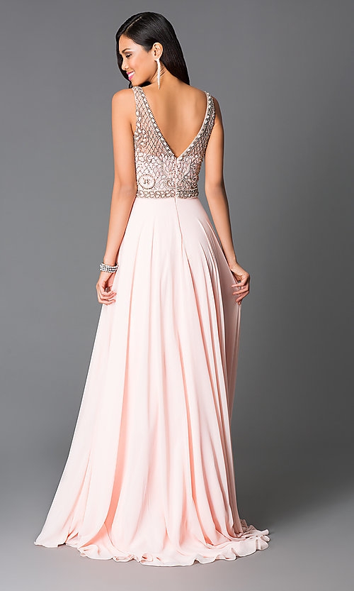Long Beaded Pink Chiffon Prom Dress - PromGirl