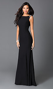 Black Long Beaded Sleeveless Prom Dress With Open Drape Back