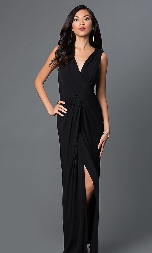 Image of long sleeveless v-neck front slit dress Style: CQ-3714DK Front Image