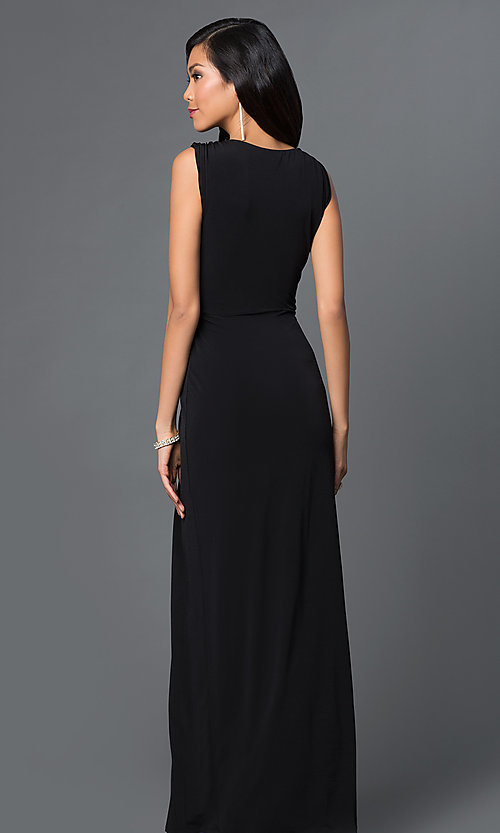 Image of long sleeveless v-neck front slit dress Style: CQ-3714DK Back Image