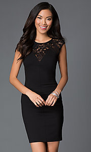 Image of short cap sleeve lace neckline black dress Style: MD-D14056ADK Front Image