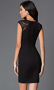 Image of short cap sleeve lace neckline black dress Style: MD-D14056ADK Back Image