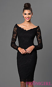Image of long sleeve off shoulder knee length black lace dress  Style: JU-MA-262654i Front Image