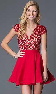 Image of short red cap sleeve lace bodice open back A-Line V-Neck dress Style: LUX-LD1693 Front Image