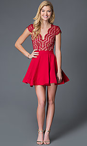Image of short red cap sleeve lace bodice open back A-Line V-Neck dress Style: LUX-LD1693 Detail Image 1