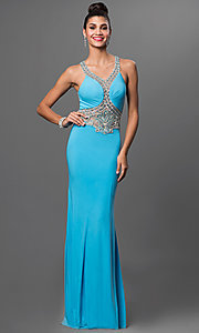 Embellished Illusion Back Floor Length Prom Dress