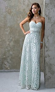 Nina Canacci Long Strapless Lace Prom Dress