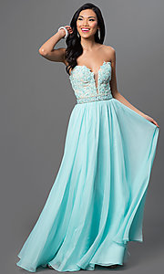Embroidered Illusion V-Neck Nina Canacci Prom Dress