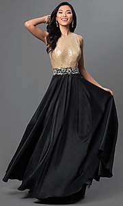 High Neck Sheer Open Back A-Line Prom Dress by Nina Canacci