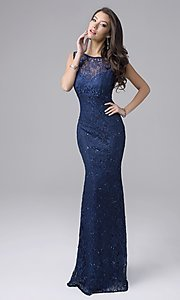 Image of long sleeveless lace prom dress Style: NC-7237 Front Image