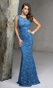 Image of long sleeveless lace prom dress Style: NC-7237 Detail Image 2