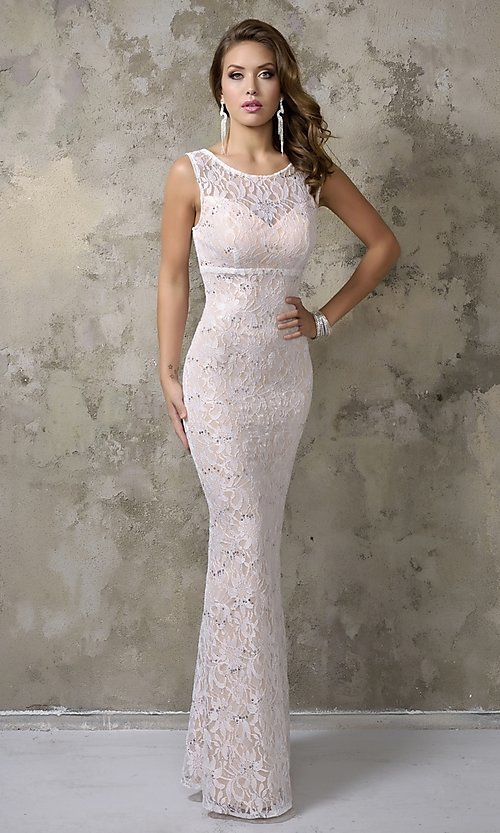 Image of long sleeveless lace prom dress Style: NC-7237 Detail Image 1