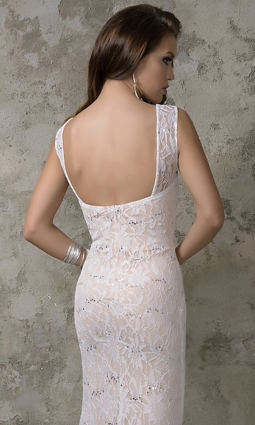 Image of long sleeveless lace prom dress Style: NC-7237 Back Image