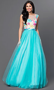 Sleeveless Floor Length Prom Dress with Embroidered Lace Bodice