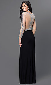 Sheer Back and Sleeves Long Dress with Jewel Embellishments
