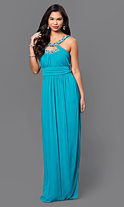 Long Aqua-Blue Prom Dress with Empire Waist