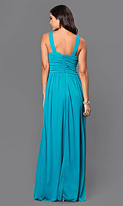 Image of long sleeveless blue dress with ruched bodice jewel embellished neckline and empire waist Style: CT-8420EP1B Back Image