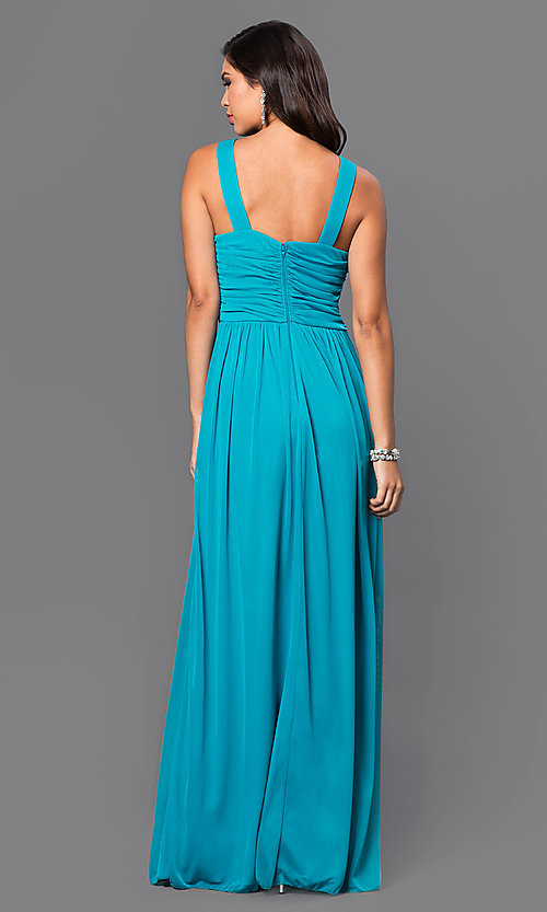 Long Empire-Waist Aqua-Blue Prom Dress- PromGirl