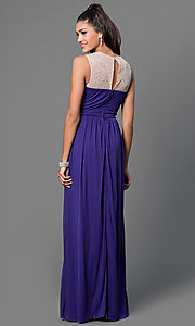 Image of purple floor length sleeveless pleated bodice dress Style: CT-8420ZK8B Back Image