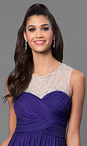 Image of purple floor length sleeveless pleated bodice dress Style: CT-8420ZK8B Detail Image 1