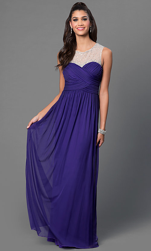 Image of purple floor length sleeveless pleated bodice dress Style: CT-8420ZK8B Front Image