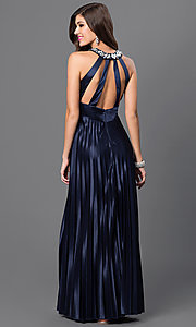 Image of long pleated empire-waist dress Style: MY-2275XY1S Back Image