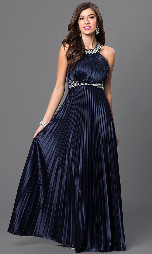 Image of long pleated empire-waist dress Style: MY-2275XY1S Front Image
