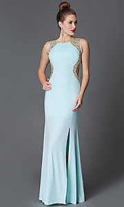 Long Sleeveless Open-Back Prom Dress with Sequins
