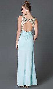 Image of long sleeveless open-back prom dress with sequins Style: MY-2659IT1S Back Image