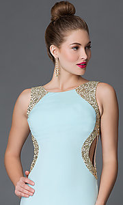 Image of long sleeveless open-back prom dress with sequins Style: MY-2659IT1S Detail Image 1