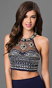 Image of navy-blue two-piece jeweled-bodice Sequin Hearts dress. Style: MY-2905US1S Detail Image 1