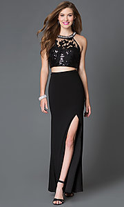 Image of illusion-bodice long two-piece side-slit prom dress Style: MY-2906US1S Front Image