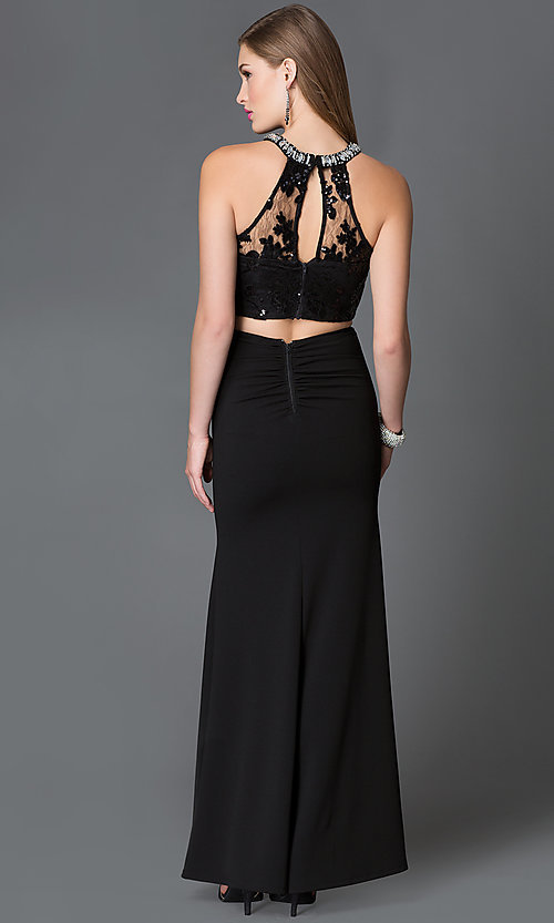 Image of illusion-bodice long two-piece side-slit prom dress Style: MY-2906US1S Back Image