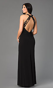 Image of long black sleeveless high-neck sequin-embellished lace-bodice open-back dress Style: MY-2352XZ1S Back Image