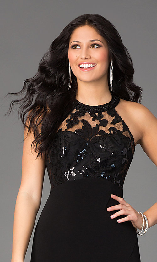 Image of long black sleeveless high-neck sequin-embellished lace-bodice open-back dress Style: MY-2352XZ1S Detail Image 1