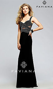 Open Back Faviana Prom Dress with Beading Accents