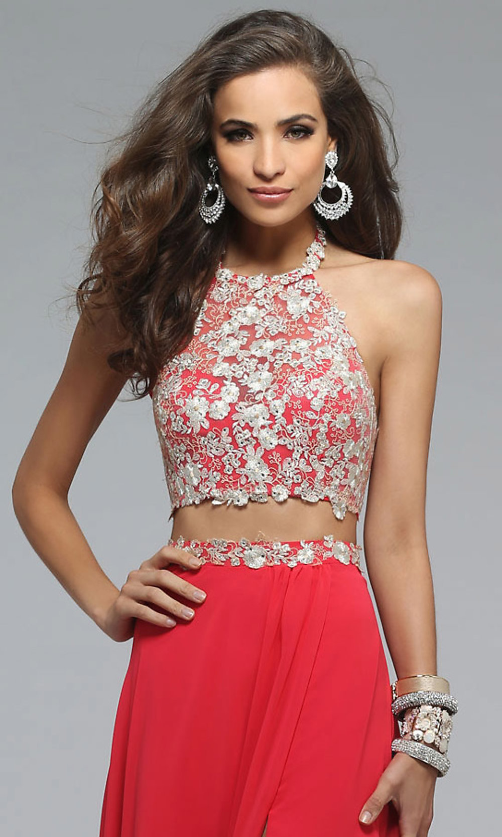 Two-Piece Long Embroidered-Top Dress-PromGirl